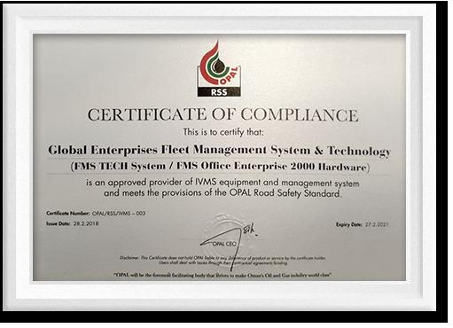 Certificate of Compliance - OPAL - Fleet Management Oman